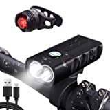 AMZPAY Bicycle Light LED Bike Light Front and Rear Back Tail Set USB Rechargeable Waterproof Powerful 1000 Lumens 360 Rotation Super Bright Cycling Light Flashlight Torch
