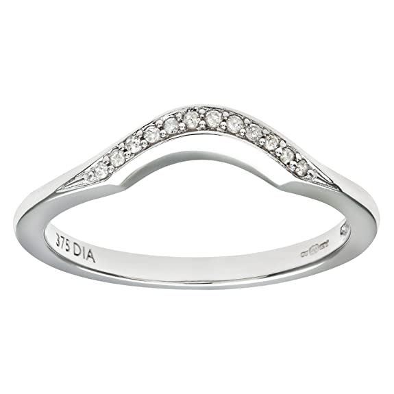 Naava 9ct White Gold Diamond Wishbone Eternity Ring