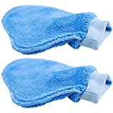 Plush Pro-style Microfiber Dusting Mitt: 2 Pk - Easy Clean, Dust, Wipe - One-size-fits-all Glove - Chemical & Wax-free Cleaning