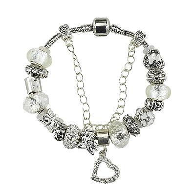 99e9242f77535 Hot BOSHI plaqué argent en verre de Murano Charme Bracelets avec Charms  Cœur Blanc de DIY ...