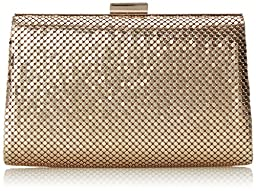 La Regale Mesh Frame Trapezoid Clutch, Light Gold, One Size