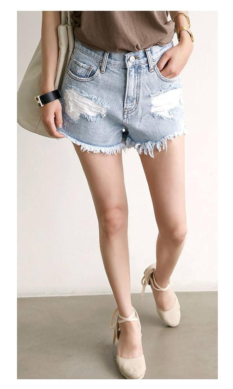 (ナンニング9)Naning9 カットオフ クラッシュ デニムショートパンツ ライトブルー M : 服&ファッション小物通販 | Amazon.co.jp