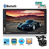 Double Din Car Stereo Radio 7 Inch Touch Screen MP5 Player FM Radio Receiver with USB TF AUX-in Port Support Android Phone Mirror Link + Backup Camera