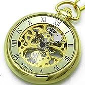 [ブラウン]BROWN 懐中時計 メカニカル ポケットウォッチ 両面スケルトン 925J-GDGD メンズ