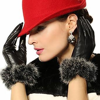 ELMA Feminine Winter Warm Nappa Leather Gloves Gold Plated Logo Rabbit Fur Trim (M, Black)