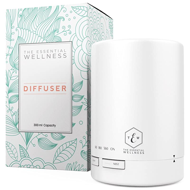 The Essential Wellness Aromatherapy Oil Diffuser & Ultrasonic Cool Mist Humidifier 300 ml - BPA Free - 7 Colors & 4 Timer Settings via Amazon