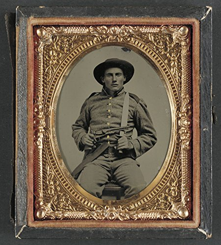 Unidentified soldier in Confederate frock coat and slouch hat with Bowie knife and Colt Army Model 1860 revolver