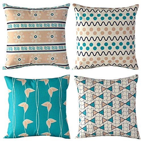 """WOMHOPE® 4 Pcs - 18"""" Floral Style Cotton Linen Square Throw Pillow Case Decorative Cushion Cover Pillowcase Cushion Case for Sofa,Bed,Chair,Auto Seat (Valentine (L Set of 5))"""