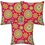 Best Festival Gifts Diwali Christmas New Year Set Of 3 Indian Classical Pink Printed Polyester 12X12 Cushions...