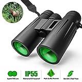 12X42 Roof Prism Binoculars Waterproof Professional HD Binoculars with Low Light Night Vision FMC Lens & Carrying Bag Strap Compact Adults BAK4 Binocular for Travel Birds Watching Hunting Concerts (Color: Black, Tamaño: 12X42)