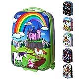 Karry Kinder Hartschalen Handgepäck Koffer für Mädchen LED Skater Rollen Einhorn Unicorn 819