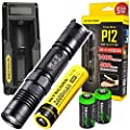 NITECORE P12 2015 version 1000 Lumens high intensity CREE XM-L2 LED long throw tactical flashlight with Niteocre UM10 USB charger, Nitecore NL186 2600mAh rechargeable 18650 Battery and 2 X EdisonBright CR123A Lithium Batteries Bundle from Edisonbright