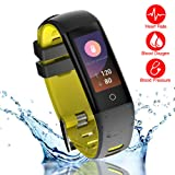 READ New Smart Fitness Tracker, Smart Watch with Blood Pressure Heart Rate Sleep Pedometer Camera remote shoot Blood Oxygen Monitor Smart Wristband Bracelet for Bluetooth Andriod and ios (G16-YELLOW)