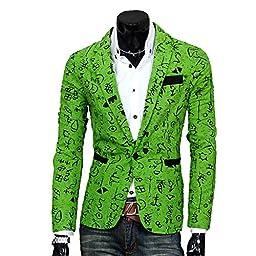 Fashion Men\'s Fancy Cartoon Floral Print Casual Jacket Blazer