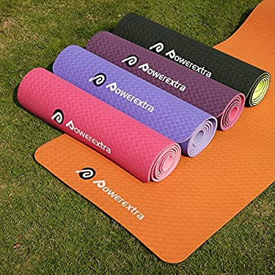 Powerextra Premium Exercise TPE Yoga Mat,1/4inch (6mm) 72inch,No Irritating-Smell Eco-Friendly Non Slip Thick Workout Mats for Yoga Exercise,Camping,Pilates with Carrying Strap and Bag