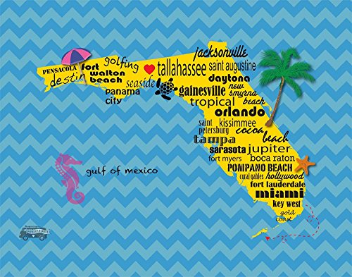 Florida Tallahassee Home Love Cute Pattern Heart Map Wall Decor Art Typography Print
