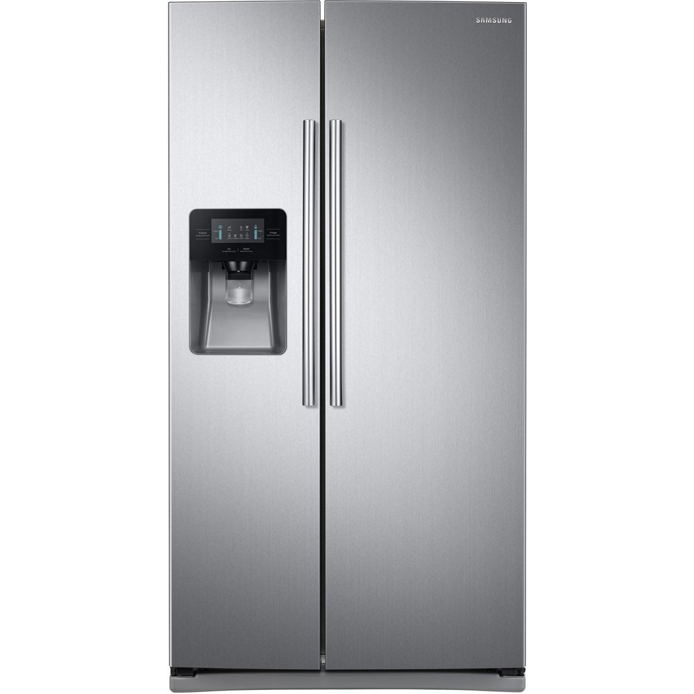 "Samsung RS25J500DSR 36"" Side-By-Side Refrigerator with 25 cu. ft. Capacity External Filtered Water and Ice Dispenser LED Display 6 Temperature Sensors and Door Alarm in Stainless"