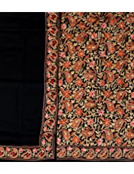 Exotic India Jet-Black Salwar Kameez Fabric From Amritsar With Embroider - Black