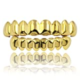 JINAO 18K Gold Plated Gold Finish 8 Top Teeth & 8 Bottom Tooth Hip Hop Mouth Grills (Gold Set)