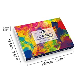 72 Watercolor Pencils Set - Premium Artist Lead 72 Vibrant Colors No Duplicates Pre-sharpened Colored Pencils Ideal for Coloring, Blending and Layering, Sketching, Crafting (Color: 72 watercolor pencil)