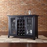 Crosley Newport Sliding Top Bar Cabinet, Black Finish