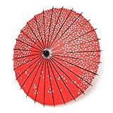 JapanStyle 和傘 (わがさ) 唐傘 日傘 紙傘 日本 桜花 飾り コスプレ インテリア (桜花弁 赤)