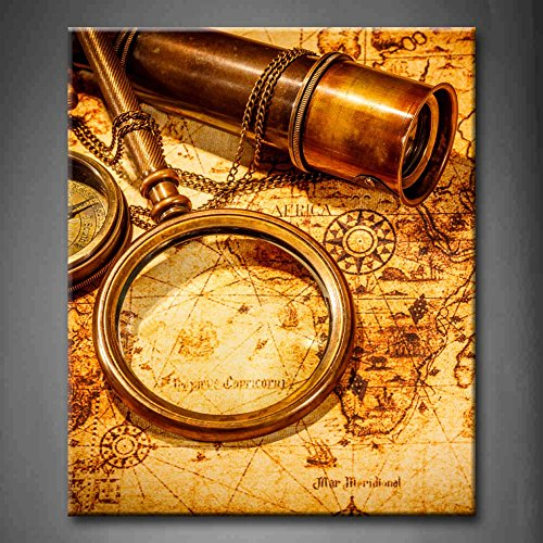 Brown Vintage Magnifying Glass Compass Telescope And A Pocket Watch Lying On An Old Map Wall Art Painting The Picture Print On Canvas Abstract Pictures For Home Decor Decoration Gift (Stretched By Wooden Frame,Ready To Hang)