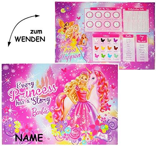 WENDE-Schreibtischunterlage-Barbie-Einhorn-Prinzessin-incl-Namen-55-cm-38-cm-beschichtete-Pappe-Unterlage-Knetunterlage-Schreibunterlage-Tischunterlage-fr-Kinder-Mdchen-Blumen-Einhrner-Pferde