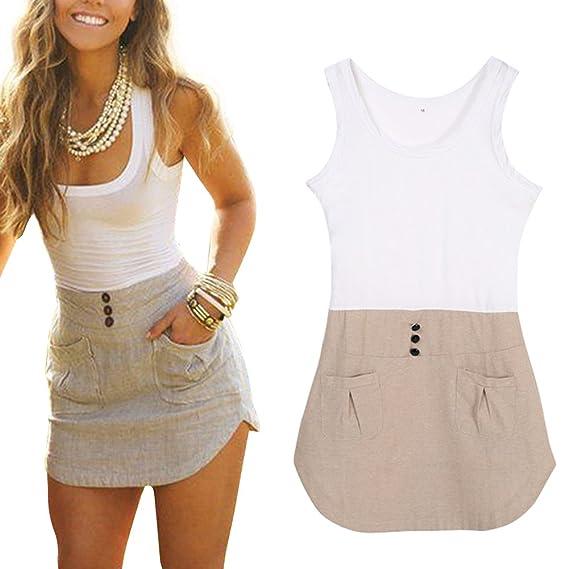 FUNOC Women's Ladies Chiffon Long Top Blouse Summer Womens Sleeveless Mini Dress