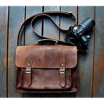 FeatherTouch Leather Camera Dslr Travel Camera Bag 12X9X5 Inches Brown