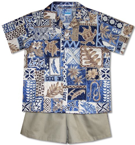 Hawaiian Symbols Heritage Boy's Hawaiian Aloha Camp Shirt & Cotton Shorts 2PC Cabana Set in Blue - 5
