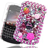 Cooltechstuff Hot Pink/Black Hard Fitted Case Cover/Gemstone Barbie Diamond Flower For Blackberry Curve 9360 + Free Screen Protector Included