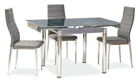 Jadella - Tavolo da pranzo di design con piano in vetro, allungabile a 131 cm, con motivo floreale grigio