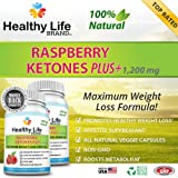 Raspberry Ketones Ketone Plus+ Reviews - Healthy Life Brand - 100% Natural Weight Loss Supplement and Appetite Suppressant Premium Pills - Burn Lose Belly Fat - Best 1200mg Fresh Premium Max Natural with No Side Effects - Diet Weight Loss for Men and Women - Highest Quality Made in USA Highest Quality Veggie Vegetarian Capsules