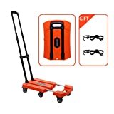 Portable Folding Luggage Cart with 6 Wheels and 2 Free Rope Upgrade Large Wheels with Brakes Withstand 440 Pounds Hand Truck (Orange) (Color: Orange)