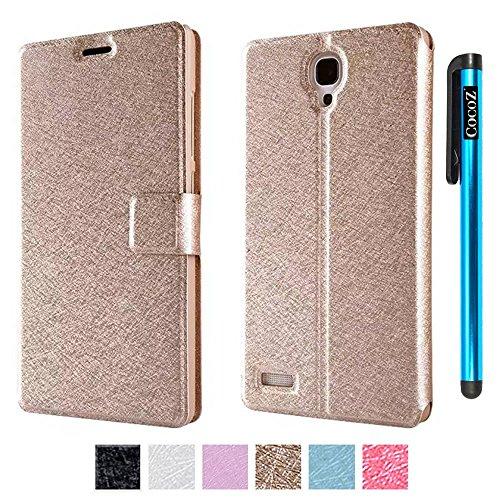 CocoZ® Xiaomi Hongmi Red Rice Note 5.5 Inch Case Magnetic Closure PU Fashion Smart Wake up Mode Premium Daytona Skin Stand Classic Multifunction Folio Case (Golden)