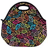 Snoogg A Seamless Pattern With Leaf Travel Outdoor Carry Lunch Bag Picnic Tote Box Container Zip Out Removable... - B01B7GCF62