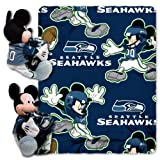 NFL Seattle Seahawks Mickey Mouse Pillow with Fleece Throw Blanket Set