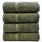 Luxury Hotel & Spa Towel 100% Genuine Turkish Cotton (Bath Towel - Set of 4, Moss)