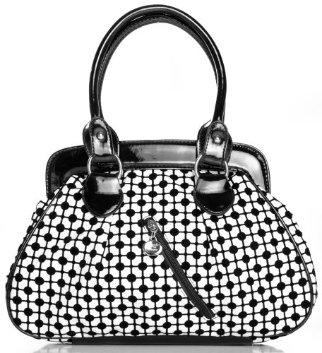 Black and White Chic Dottie Line Medium Bowler Satchel Hobo Shoulder Bag Handbag Purse