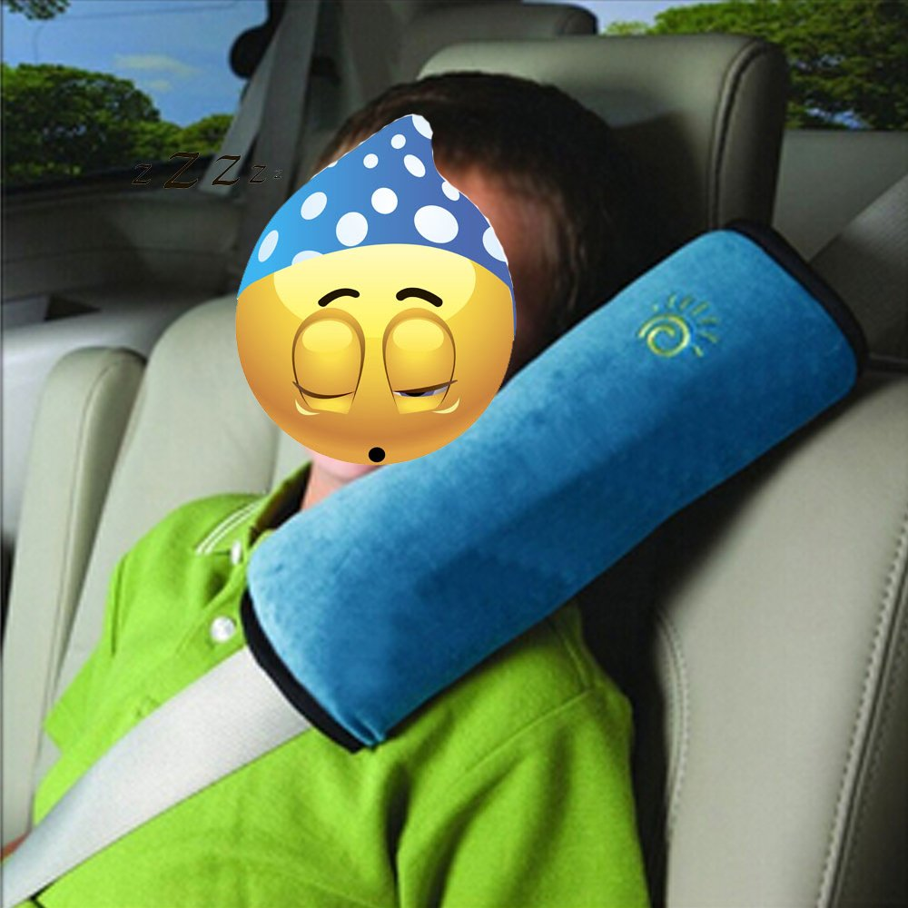 Wisedeal Children Baby Soft Headrest Neck Support Pillow Shoulder Pad for Car Safety Seatbelt (Blue) neck support nap pillow