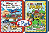 Magnetic Fun Tin: Cars, Planes & Trains and Farm Gift Set Bundle - 2 Pack