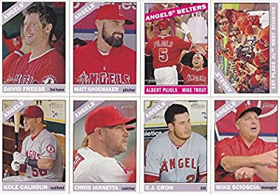 2015 Los Angeles Angels of Anaheim Topps Heritage Baseball Complete Mint 14 Basic Card Team Set with Mike Trout Plus