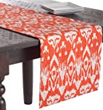 SARO LIFESTYLE 5161 1-Piece Asha Ikat Runners Oblong Tablecloth, 16 by 72-Inch, Tangerine