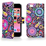 Juju Village Swirls Polka Dot Jelly Fish PU Leather Wallet Case Cover Skin For Apple iPhone 5C With Screen Protector