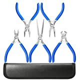 5 Piece Mini Pliers Tool Set, Kingsdun Flush Side Wire Cutter Pliers Set Include Needle/Long Nose/Diagonal/End Cutting/Linesman Pliers for Jewelry Arts Mechanical Work Small Electronics Repair (Tamaño: Small)