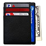 RFID Wallet Mens Slim Leather RFID Blocking Front Pocket Wallet Thin Card Holder