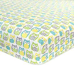 Carter\'s Cotton Fitted Crib Sheet, Owl/Grey/Yellow/Green/Blue