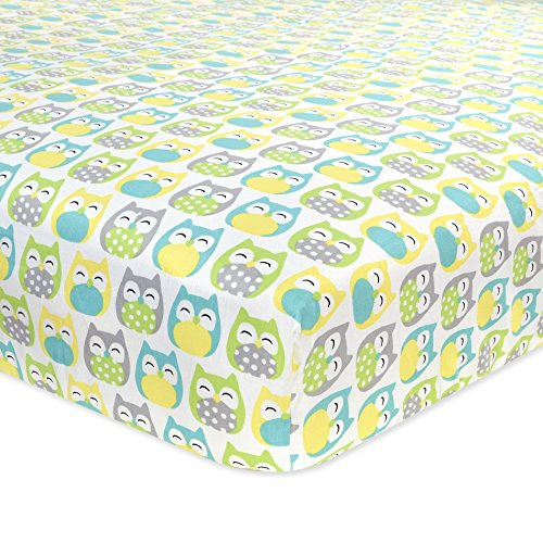 Carter's Cotton Fitted Crib Sheet, Owl/Grey/Yellow/Green/Blue - 1