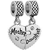 Heart of Charms Mom Mother Heart I Love My Girls or Boys Charms Photo Charms Beads for Snake Chain Bracelets (mother daughter-2)